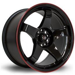 """Rota GTR 17x9.5"""" 5x114.3 ET12, Noir, Liseret Rouge"""