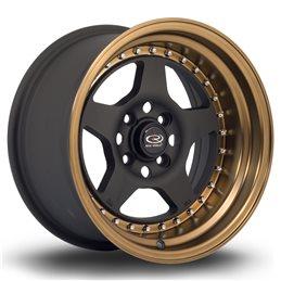 "Rota Kyusha 15x8"" 4x100 ET0, Noir Mat, Rebord Bronze"