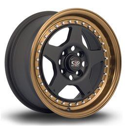 "Rota Kyusha 15x7"" 4x100 ET38, Noir Mat, Rebord Bronze"
