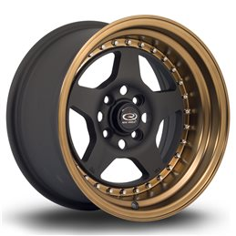 "Rota Kyusha 15x8"" 4x114.3 ET0, Noir Mat, Rebord Bronze"