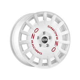 """OZ Rally Racing 17x7"""" 4x100 ET45, Blanc, Lettres Rouges"""