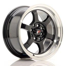JR Wheels JR12 15x7.5 ET26 4x100/108 Noir Brillant / Bord Poli