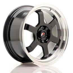 JR Wheels JR12 16x8 ET15 4x100/114.3 Noir Brillant / Bord Poli