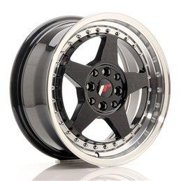 JR Wheels JR6 15x7 ET25 4x100/108 Noir Brillant w/Poli