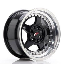 JR Wheels JR6 15x8 ET25 4x100/108 Noir Brillant w/Poli
