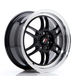 JR Wheels JR7 15x7 ET38 4x100/114.3 Noir Brillant / Bord Poli