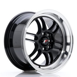 JR Wheels JR7 15x8 ET35 4x100/114.3 Noir Brillant / Bord Poli