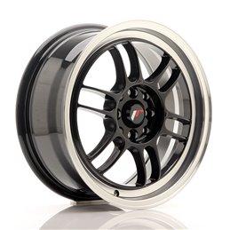 JR Wheels JR7 16x7 ET38 4x100/114.3 Noir Brillant / Bord Poli