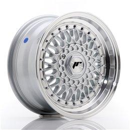 JR Wheels JR9 15x7 ET20 4x100/108 Argent / Bord Poli+Argent Rivets