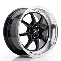 JR Wheels TF2 15x7.5 ET30 4x100/114.3 Noir Brillant