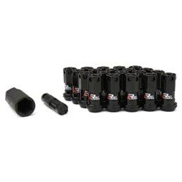 Ecrous R40 KICS Iconix Noir avec Capuchon Plastique Noir M12X1.25 20 PCS (Sans Antivol)