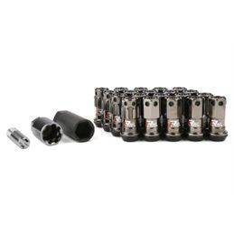 Ecrous R40 KICS Iconix Gunmetal et Antivol avec Capuchon Plastique Noir M12X1.25 16+4